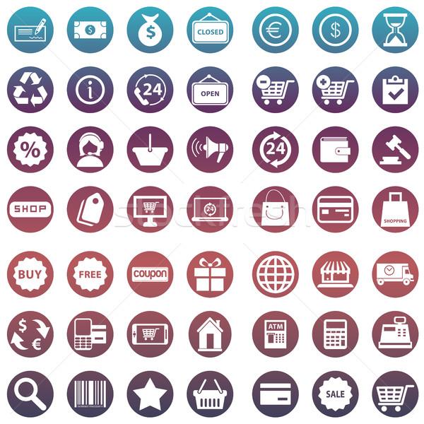 Foto stock: Conjunto · compras · ícones · dinheiro · projeto