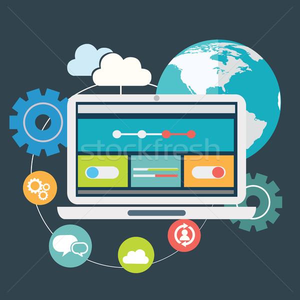 Flat design modern vector illustration icons set of website SEO optimization, programming process an Stock photo © Photoroyalty