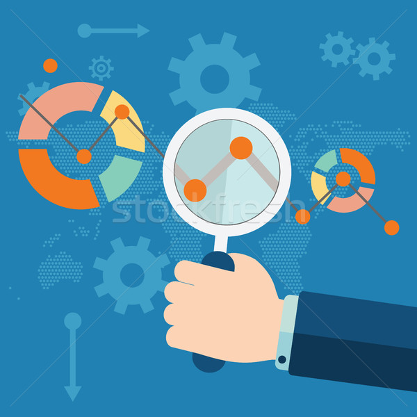 Flat vector illustration of web analytics information and development website statistic Stock photo © Photoroyalty