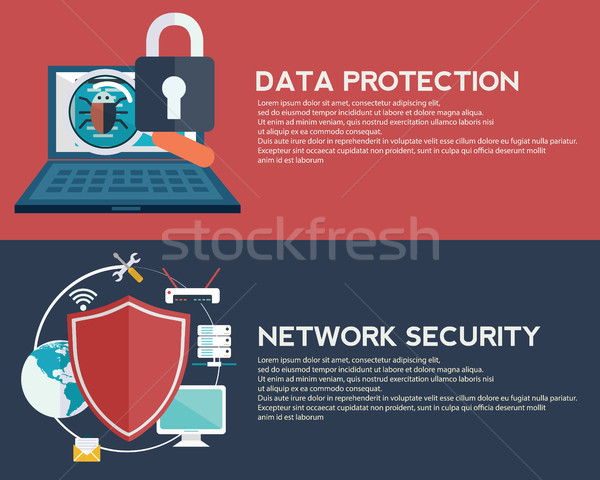 Flat computing background. Data protection and Network security. Innovation and technologies. Mobile Stock photo © Photoroyalty