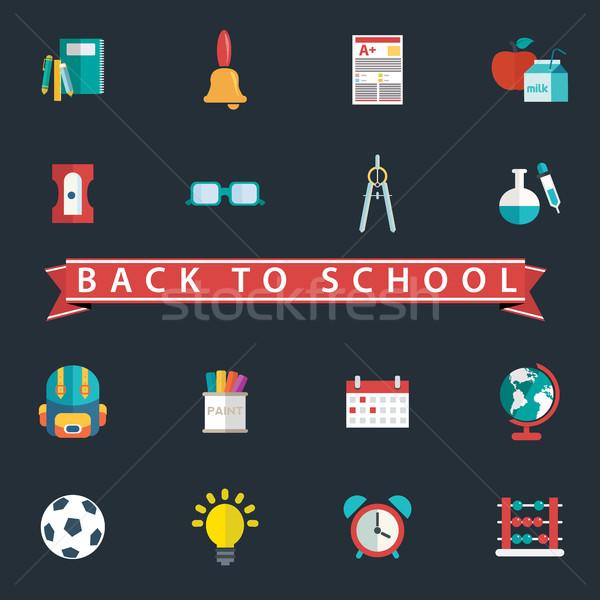 Powrót do szkoły projektu papieru szkoły sportu Zdjęcia stock © Photoroyalty