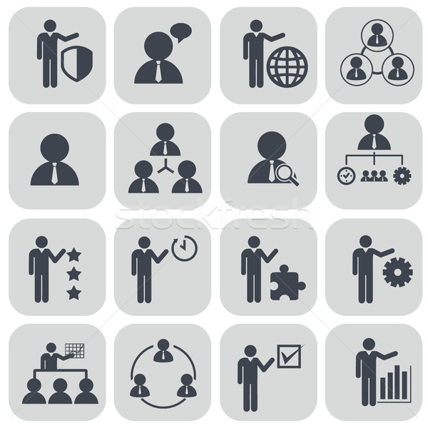 Human resources and management icons set. Stock photo © Photoroyalty