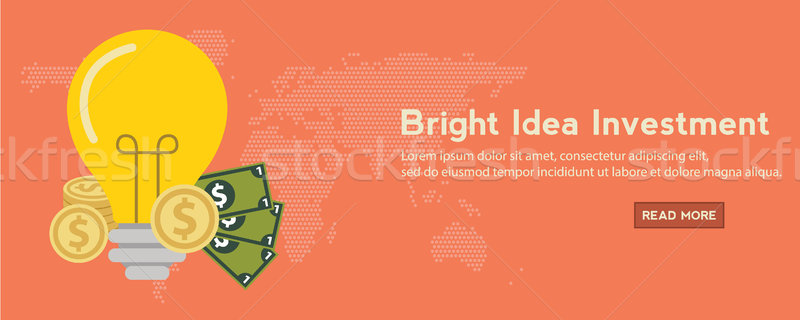 Investing into idea banner flat concept. Idea plus investor is a huge profit. Stock photo © Photoroyalty