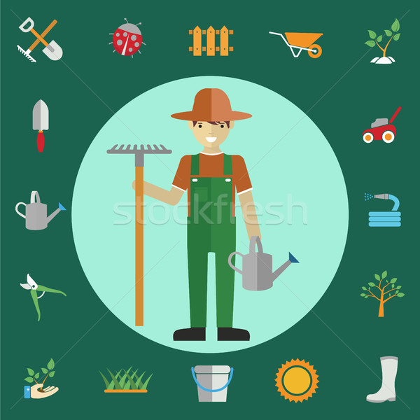 Man gardeners standing with their garden tools. Environmental activities. Gardening icons set Stock photo © Photoroyalty