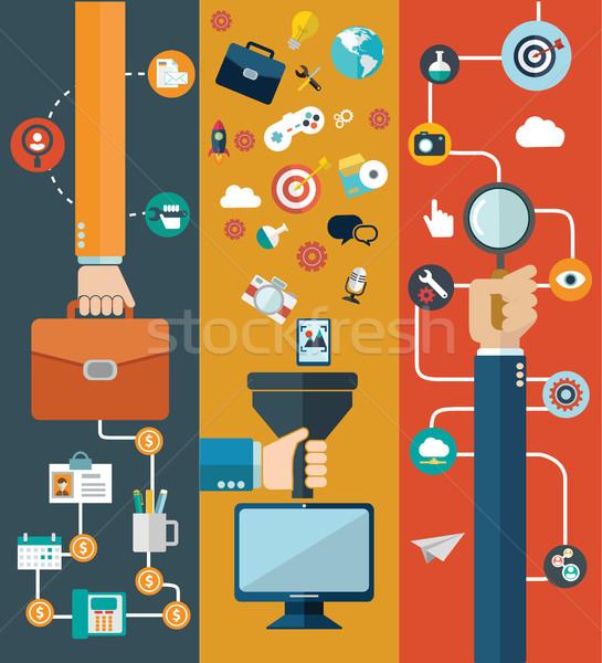 Ingesteld ontwerp website lay-out mobiele telefoon Stockfoto © Photoroyalty