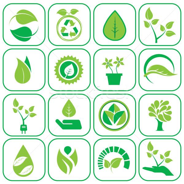 ökológia ikon szett ikonok zöld modern szett Stock fotó © Photoroyalty