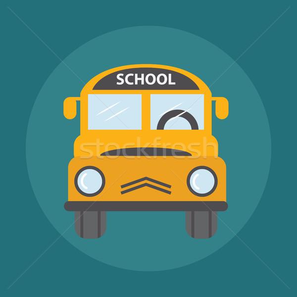Citromsárga iskolabusz illusztráció vissza az iskolába város terv Stock fotó © Photoroyalty