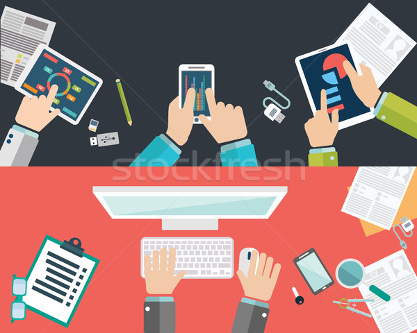 Flat design illustration concepts for business analysis and planning, consulting, team work, project Stock photo © Photoroyalty