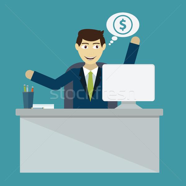 Businessman win. Online business deal. Vector flat illustration Stock photo © Photoroyalty