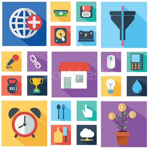 Vektor gyűjtemény színes üzlet pénzügy ikonok Stock fotó © Photoroyalty