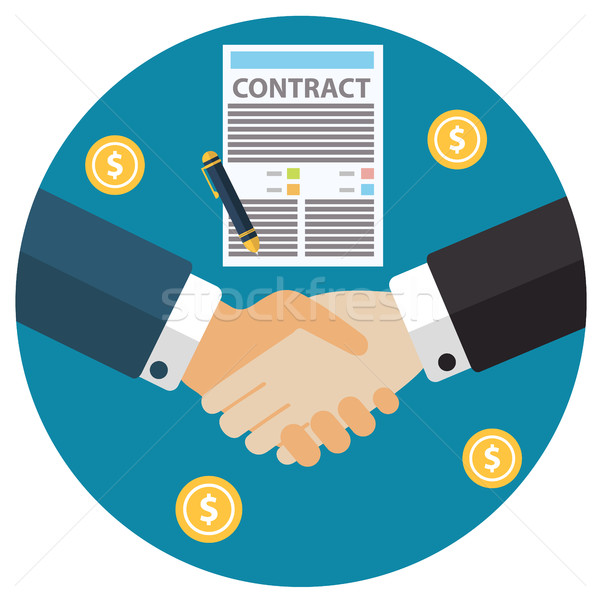 Businessman hand sign business contract paper sheet hand shake after agreement, trendy flat design Stock photo © Photoroyalty
