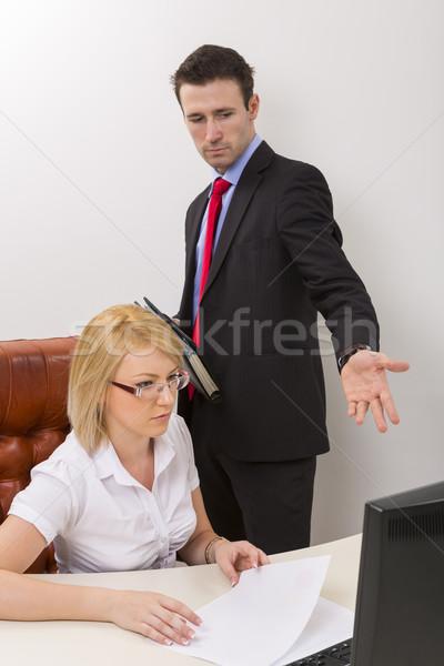 Działalności debata biuro nieszczęśliwy człowiek biznesu blond Zdjęcia stock © photosebia
