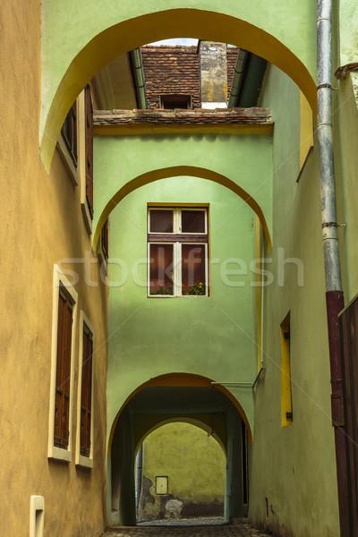 Medieval casa Romênia colorido arquitetura passagem Foto stock © photosebia
