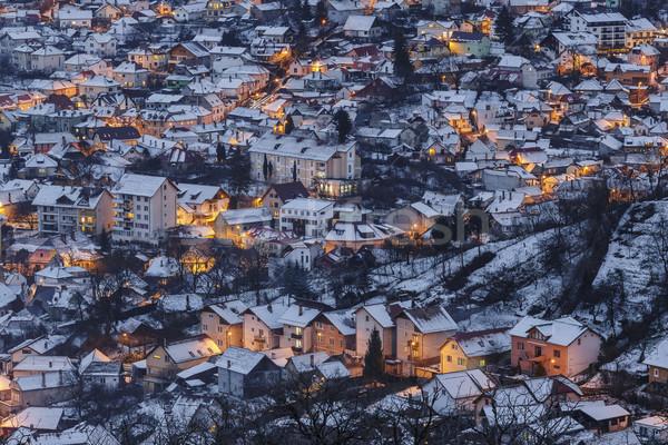 冬 夕暮れ 住宅の 地区 市 ストックフォト © photosebia