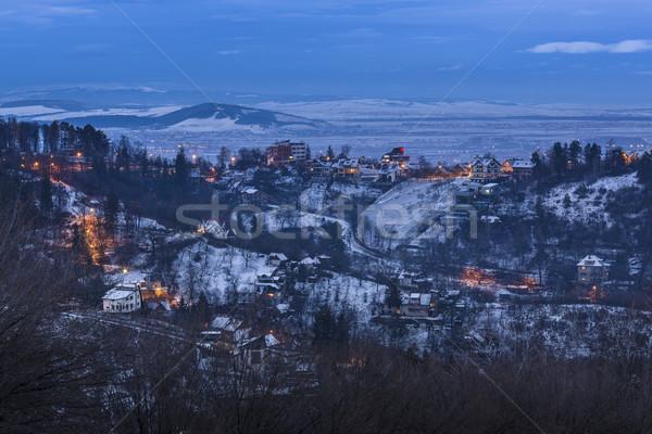 冬 黄昏 ルーマニア 絵のように美しい 景観 丘 ストックフォト © photosebia