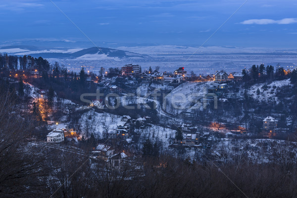Winter twilight in Brasov, Romania Stock photo © photosebia