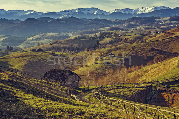 Rural paysages pittoresque printemps traditionnel roumain Photo stock © photosebia
