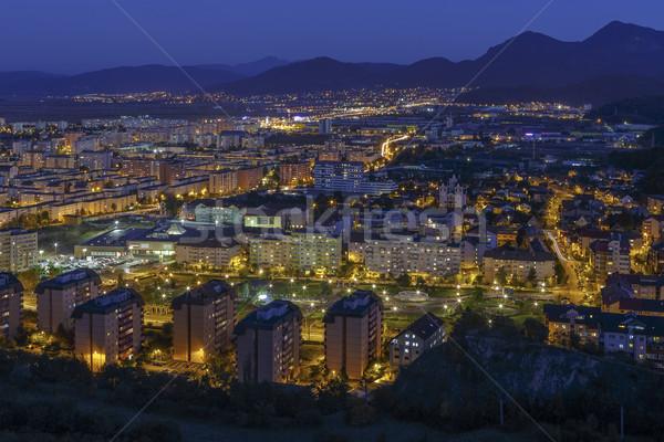 антенна ночь Cityscape город синий час Сток-фото © photosebia