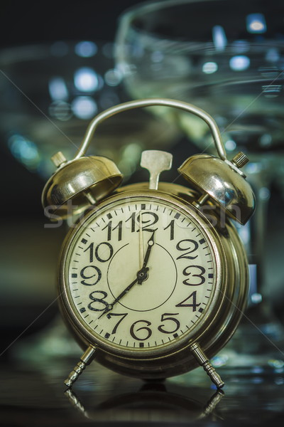 Retro alarm clock and wine glasses Stock photo © photosebia