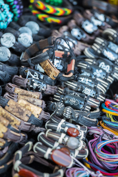 Leather bracelets, beads, accessories and souvenirs Stock photo © photosebia
