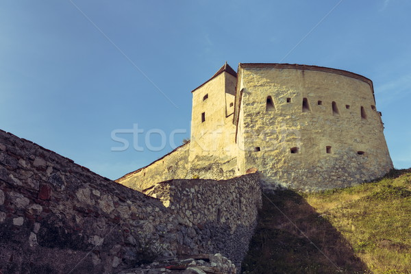 Medieval tower and defence walls of Rasnov citadel, Romania Stock photo © photosebia