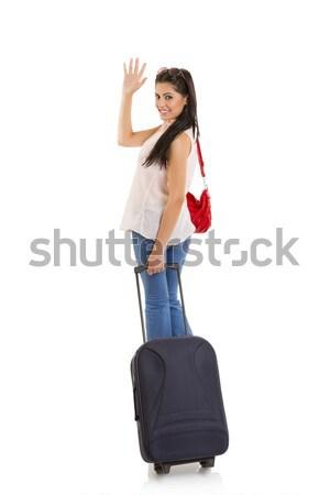 Vaarwel glimlachend mooie vrouw reizen Stockfoto © photosebia