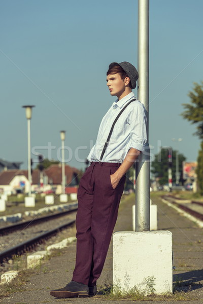 Thoughtful young guy waiting Stock photo © photosebia