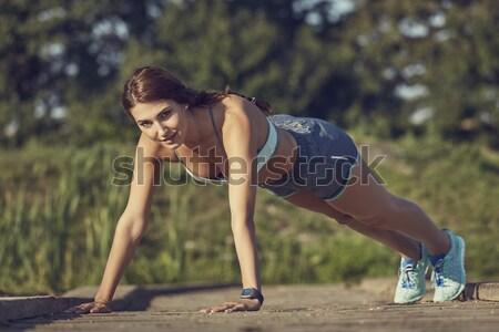 筋肉 トレーニング 魅力的な フィット 女性 ストックフォト © photosebia