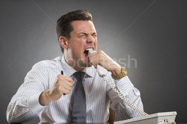 Furious executive biting phone receiver Stock photo © photosebia