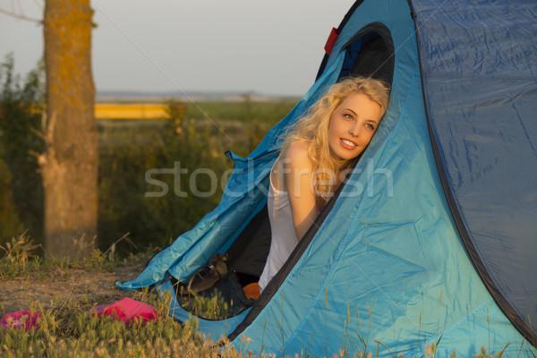 アップ キャンプ 日の出 ゴージャス 笑みを浮かべて ストックフォト © photosebia