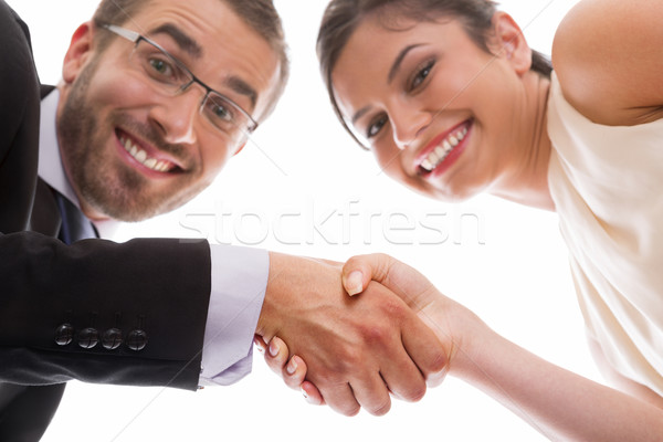 Happy handshake and teamwork Stock photo © photosebia