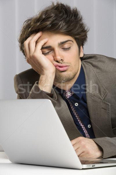 Dormire oberati di lavoro imprenditore lavoro ritratto laptop Foto d'archivio © photosebia