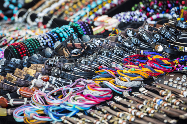 Colorful leather bracelets, beads, accessories and souvenirs Stock photo © photosebia
