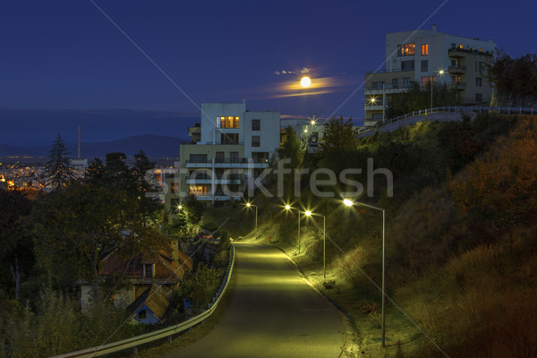 Rising moon over the city Stock photo © photosebia