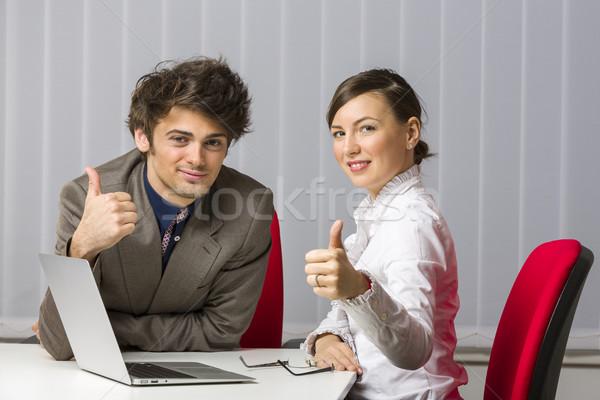 Remek derűs sikeres üzleti csapat felfelé asztal Stock fotó © photosebia