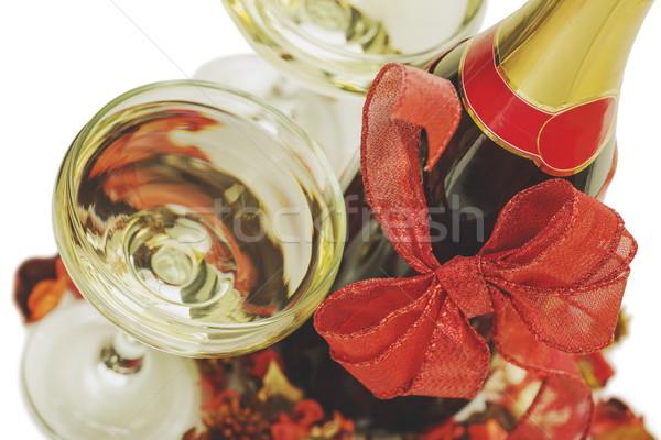 Champagne bril fles Rood christmas Stockfoto © photosebia