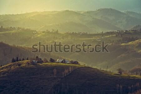 Matin rural paysages village Roumanie tôt le matin Photo stock © photosebia