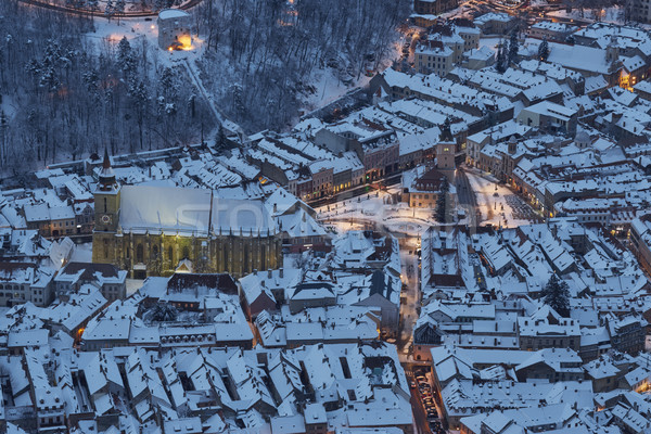 Aerial twilight view of snowy Council Square, Brasov, Romania Stock photo © photosebia