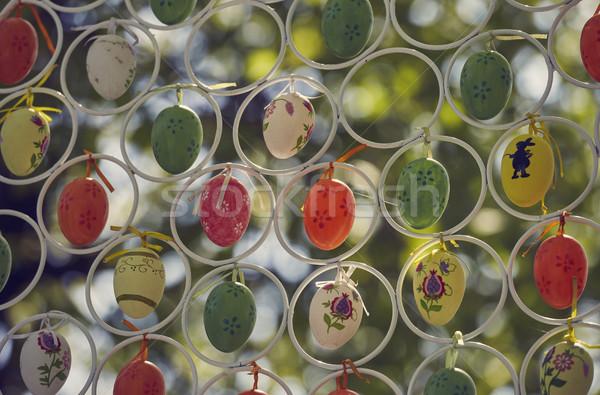 подвесной красочный декоративный пасхальных яиц окрашенный железной Сток-фото © photosebia