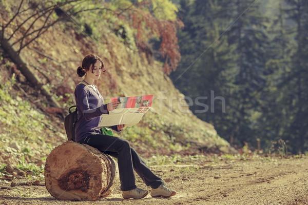 Lady reading travel map Stock photo © photosebia