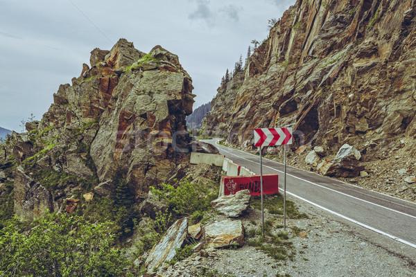 Warning triple chevron sign Stock photo © photosebia