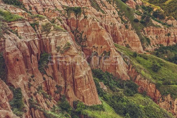 Unique reddish sandstone cliffs Stock photo © photosebia