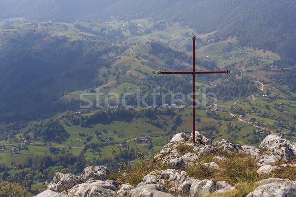 Iron cross above valley Stock photo © photosebia