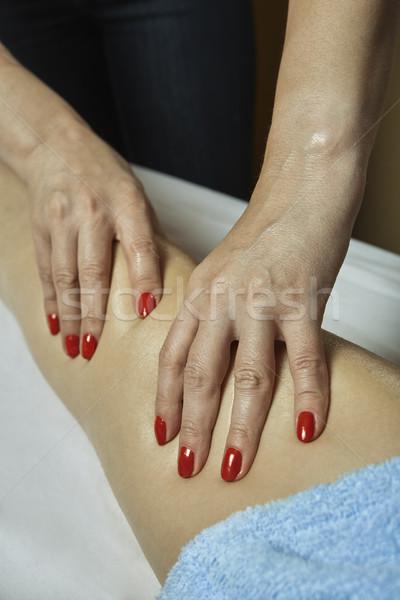 Gamba massaggio spa salone dettaglio mani Foto d'archivio © photosebia