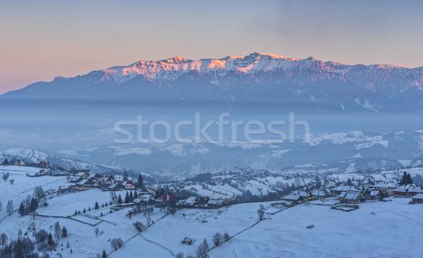 農村 冬 風景 日没 表示 ストックフォト © photosebia
