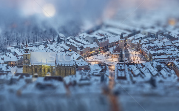 Aerial twilight cityscape of snowy Council Square, Brasov, Roman Stock photo © photosebia