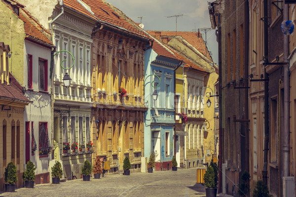 Medieval houses and promenade alley Stock photo © photosebia