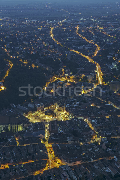 Brasov aerial night city view Stock photo © photosebia