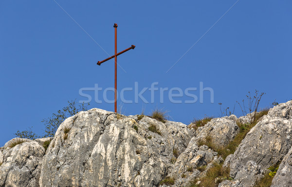 железной крест Blue Sky красный Top горные Сток-фото © photosebia