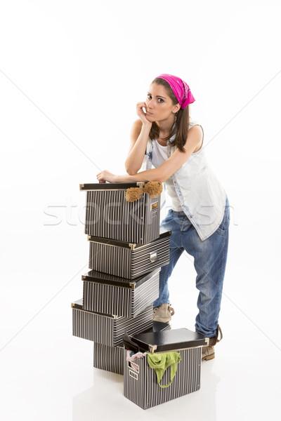 Határozatlan pihen nő boglya csíkos dobozok Stock fotó © photosebia